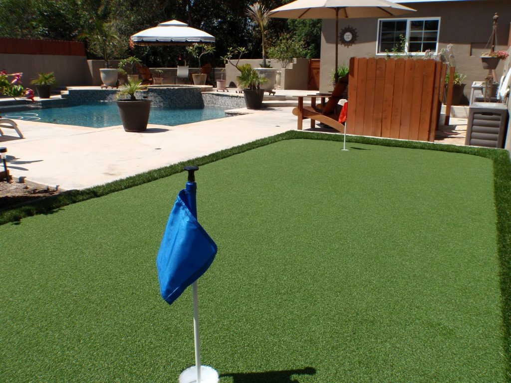 Simple golf putting green created with artificial grass