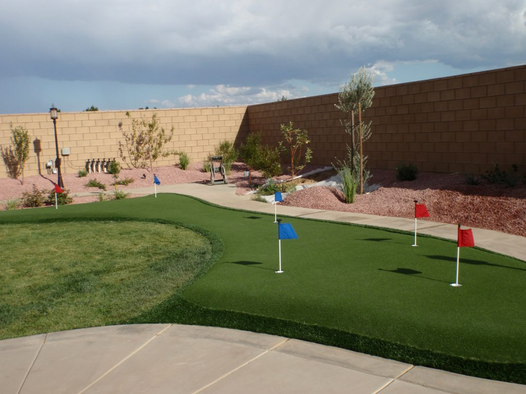 Artificial grass used to create golf putting green