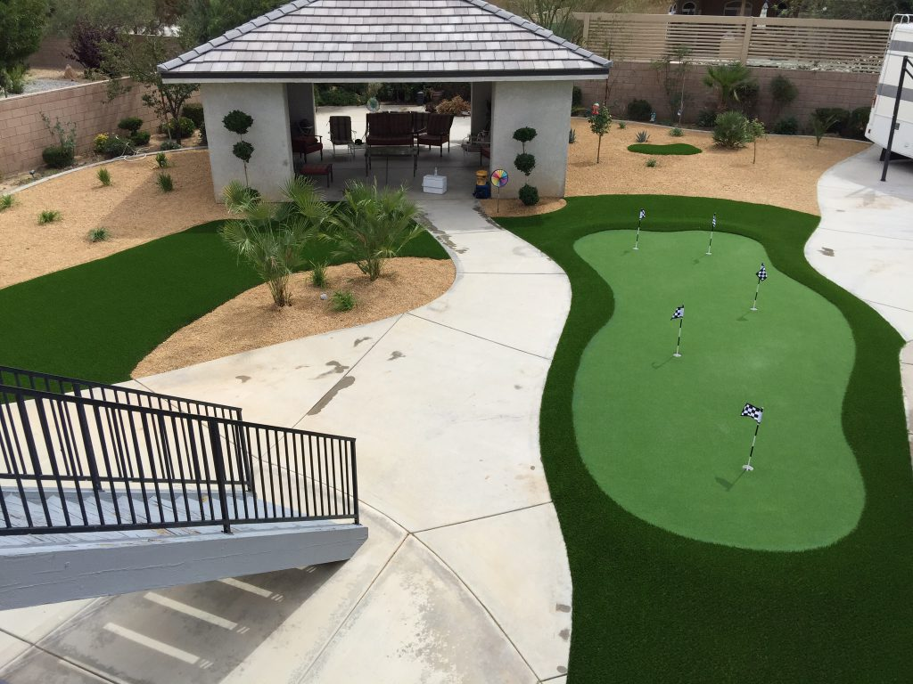 Artificial grass used to create a golf putting green