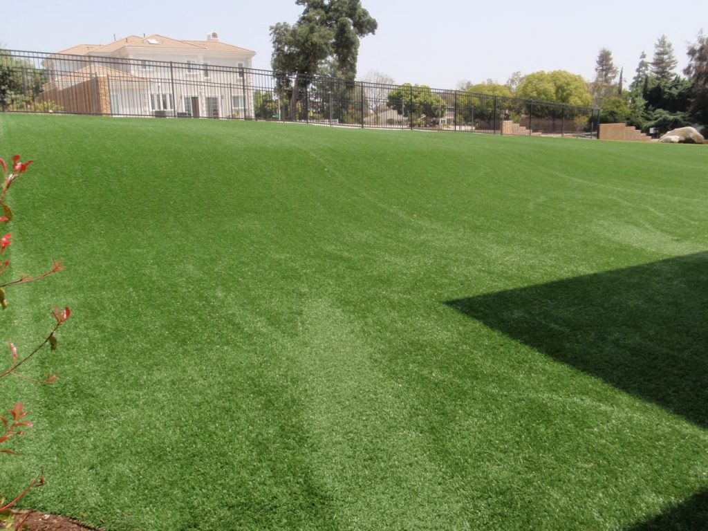 Lawn with large slope created with artificial grass