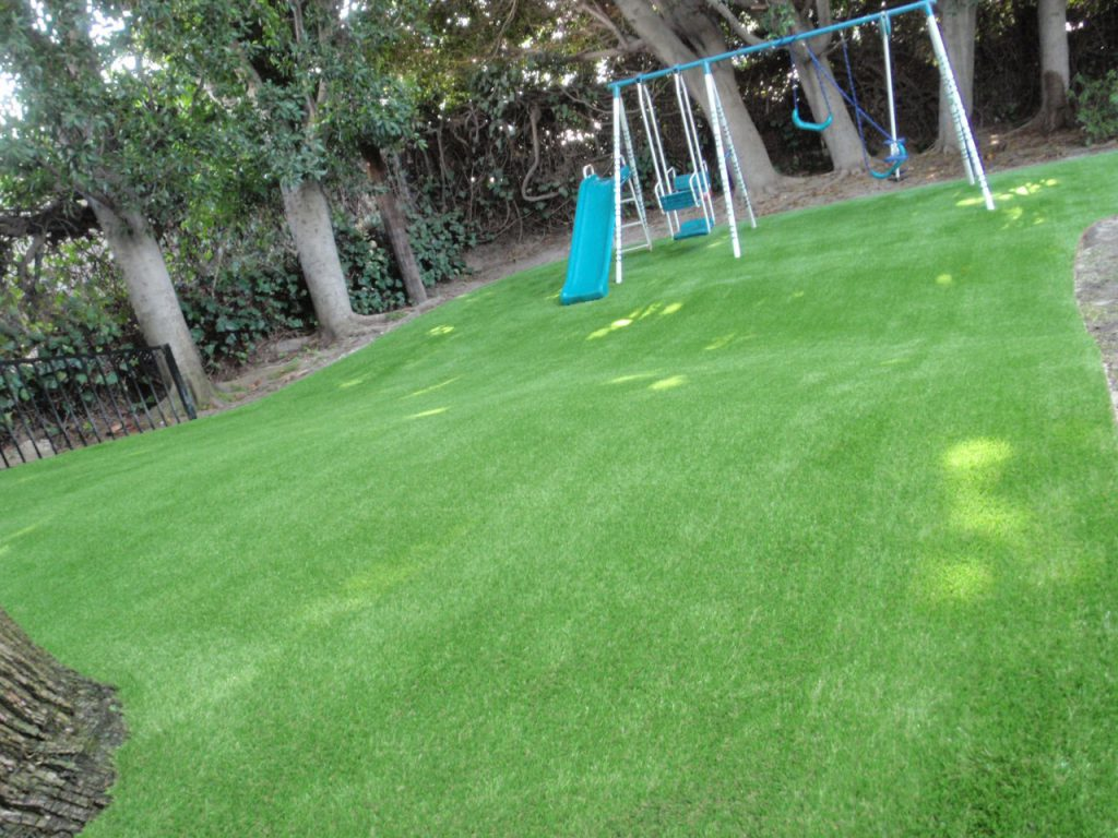 Hill covered with artificial grass sloping downwards