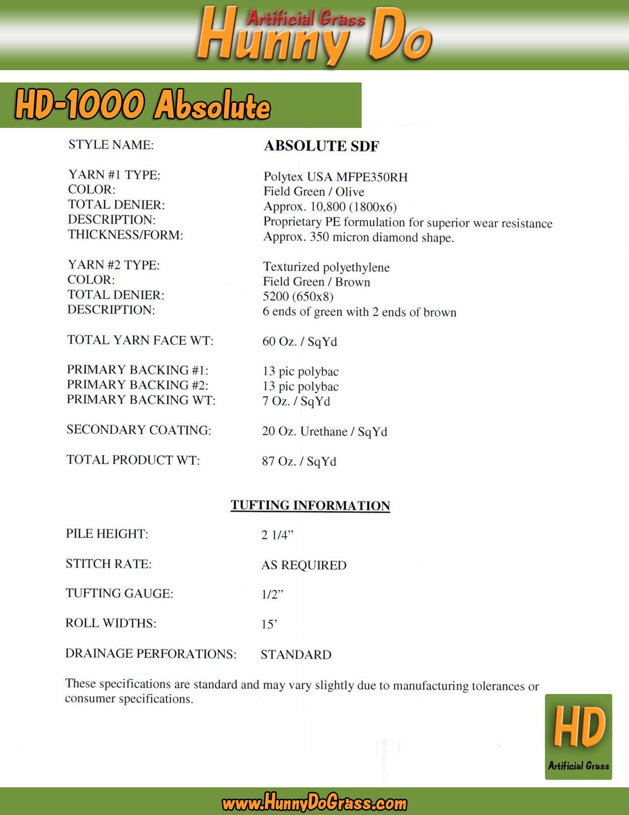 Hunny Do 1000 Absolute Specifications