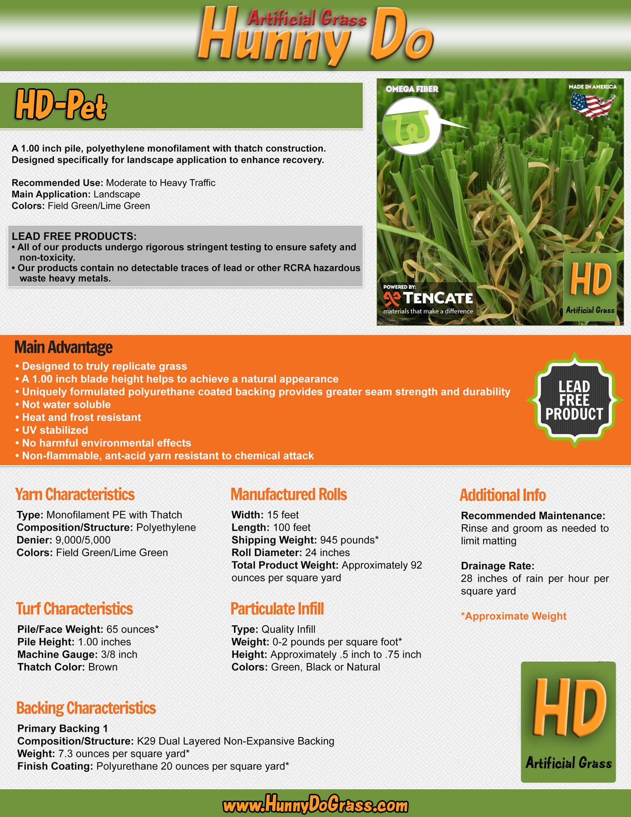 Hunny Do Pet Artificial Grass Specifications