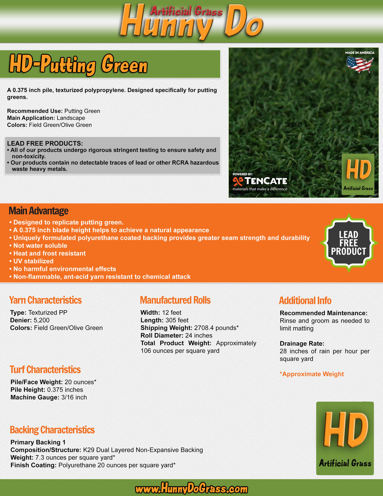 Hunny Do Putting Green Specifications