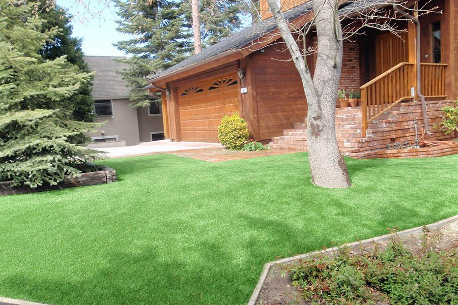 Front lawn created with artificial grass