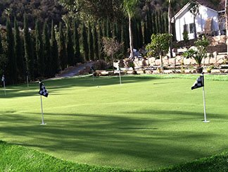Large putting green created with artificial grass