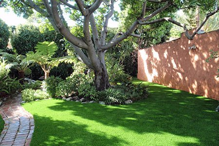Artificial grass surrounding tree in a backyard